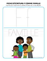 Fiches d'écriture-F comme famille