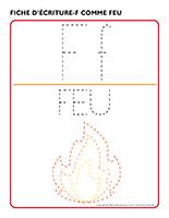 Fiches d'écriture-F comme feu