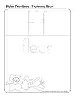 Fiches d'écriture-F comme fleur lecture