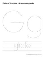 Fiches d'écriture-G comme girafe