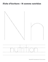 Fiches d'écriture-N comme nutrition