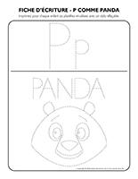 Fiches d'écriture-P comme Panda