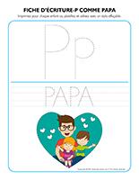 Fiches d'écriture-P comme papa 2021