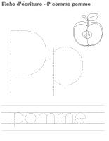 Fiches d'écriture-P comme pomme