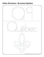 Fiches d'écriture-Q comme Québec