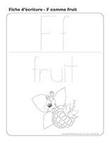 Fiches décriture-F comme fruit