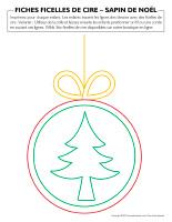 Fiches-ficelles de cire-Sapin de Noël