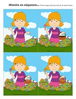 Histoire en séquence de fleurs associer jeu
