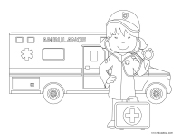 Images à colorier-Ambulanciers-Ambulancières-