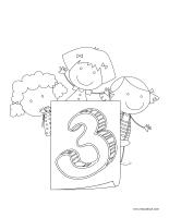 Images à colorier-Le chiffre 3