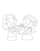 Images à colorier-Noël-échange de cadeaux