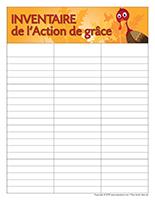 Inventaire bac-Action de grace