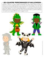 Jeu-Quatre personnages-d'Halloween