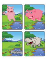 Jeu d'images-Les hippopotames