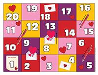 Jeu serpents et échelles-Saint-Valentin-Lettres d'amour