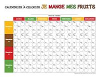Le calendrier à colorier-Je mange mes fruits