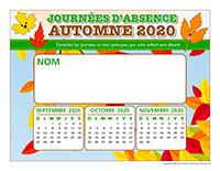 Liste des absences-Automne 2020-1 enfant
