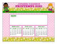 Liste des absences-Printemps 2021-1 enfant
