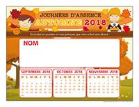 Liste des absences de Automne 2018-1 enfant
