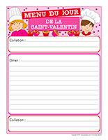 Menu de la Saint-Valentin-Interactif