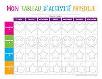 Mon tableau d'activité physique à colorier