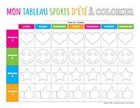 Mon tableau sports-d'été à colorier