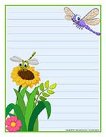 Papier à lettres-Les libellules
