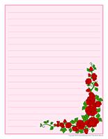 Papier à lettres-Saint-Valentin-Les roses