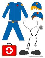 Poupées à habiller-Ambulanciers-Ambulancières