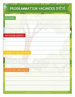 Programmation thématique-Vacances d'été