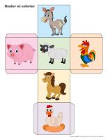 Rouler et colorier-2 Dés-Pâques-la ferme