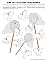 Rouler et colorier-3D-Papillons