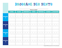 Tableau de brossage des dents à colorier