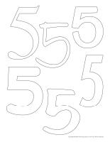 Tableau de feutrine géant–Le chiffre 5