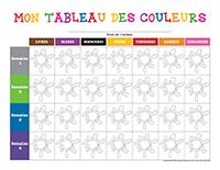 Tableau des couleurs à colorier