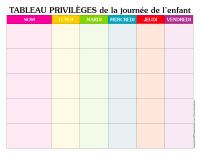 Tableau privilèges-Journée de l'enfant