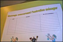 cartable avec un registre de la désinfection effectuée dans ce même local