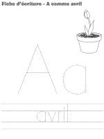 fiches d'écriture-A comme Avril