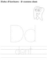 fiches d'écriture-D comme dent