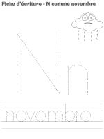 fiches d'écriture-N comme novembre