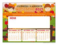 liste des absences de Automne 2017-1 enfant