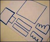 2. Dessinez les morceaux de robot à l'endos de la feuille brillante.
